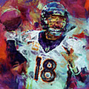Peyton Manning Abstract 6 Poster by David G Paul
