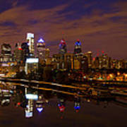 Philadelphia On The Schuylkill At Night Poster by Bill Cannon