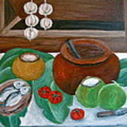 Philippine Still Life With Fish And Coconuts Poster by Victoria Lakes