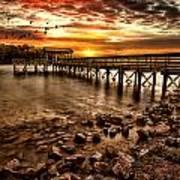 Pier At Smith Mountain Lake Poster by Joshua Minso