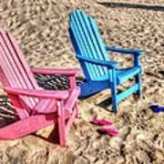 Pink And Blue Beach Chairs With Matching Flip Flops Poster by Michael Thomas