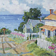 Pink Lady Lilies By The Sea By Joyce Hicks Poster by Joyce Hicks