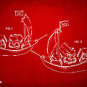 Pirate Ship Patent Artwork - Red Poster by Nikki Marie Smith