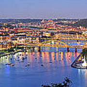 Pittsburgh Pennsylvania Skyline At Dusk Sunset Extra Wide Panorama Poster by Jon Holiday