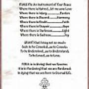 Pope Francis St. Francis Simple Prayer Prayer For Peace Poster by Desiderata Gallery