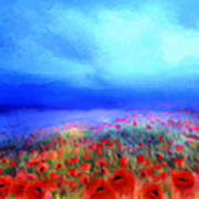 Poppies In The Mist Poster by Valerie Anne Kelly