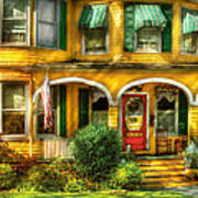 Porch - Cranford Nj - A Yellow Classic  Poster by Mike Savad