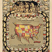 Pork Map Of The United States From 1876 Poster by Blue Monocle
