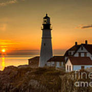 Portland Head Light At Sunrise II Poster by Clarence Holmes