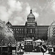Prague Wenceslas Square And National Museum Poster by Christine Till
