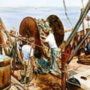 Preparing The Nets Poster by Karol Wyckoff