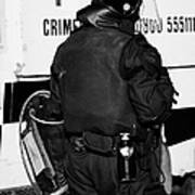 Psni Officer With Riot Gear On Crumlin Road At Ardoyne Shops Belfast 12th July Poster by Joe Fox