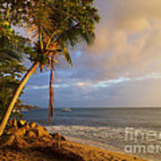 Puerto Rico Palm Lined Beach With Boat At Sunset Poster by Jo Ann Tomaselli
