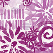 Purple Garden - Contemporary Abstract Watercolor Painting Poster by Linda Woods