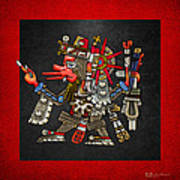Quetzalcoatl In Human Warrior Form - Codex Borgia Poster by Serge Averbukh