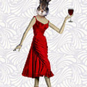 Rabbit In A Red Dress Poster by Kelly McLaughlan