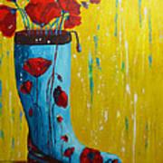 Rain Boot Series Unusual Flower Pots Poster by Patricia Awapara