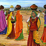Rajasthani  Women Going Towards A Pond To Fetch Water Poster by Vidyut Singhal