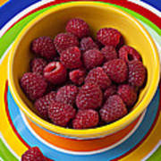 Raspberries In Yellow Bowl On Plate Poster by Garry Gay