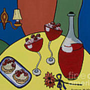 Raspberry Wine Poster by Barbara McMahon