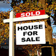 Real Estate Sold And House For Sale Sign On Post Poster by Olivier Le Queinec