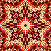 Red And White Patchwork Art Poster by Barbara Griffin
