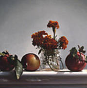 Red Apples And Marigolds Poster by Larry Preston
