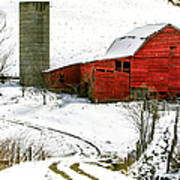 Red Barn In Snow Poster by John Haldane