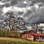 Red Barn On The Boswell Farm Poster by Reid Callaway