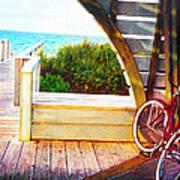 Red Bike On Beach Boardwalk Poster by Jane Schnetlage
