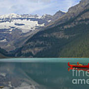 Red Canoes On Lake Louise Poster by Teresa Zieba