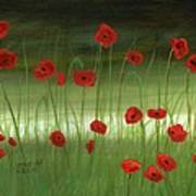 Red Poppies In The Woods Poster by Cecilia Brendel
