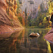Red Rock Autumn Poster by Peter Coskun