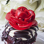 Red Rose Cupcake Poster by Garry Gay
