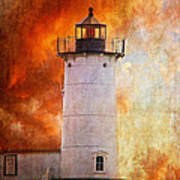 Red Sky At Morning - Nubble Lighthouse Poster by Lois Bryan
