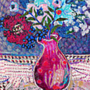 Red Vase IIi Poster by Diane Fine
