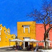 Relaxing In Colorful Puebla Poster by Mark E Tisdale