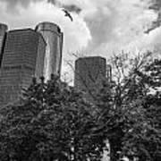 Renaissance Center In Detroit Poster by John McGraw