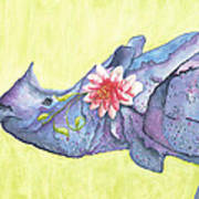 Rhino Whimsy Poster by Mary Ann Bobko