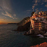 Riomaggiore Peaceful Sunset Poster by Mike Reid