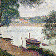 River Landscape With A Boat Poster by Georges Pierre Seurat