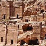 Rock Cut Tombs On The Street Of Facades Petra Jordan Poster by Robert Preston
