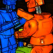 Rockem Sockem Robots - Color Sketch Style - Version 3 Poster by Wingsdomain Art and Photography