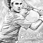 Roger Federer Art Drawing Sketch Portrait Poster by Kim Wang
