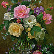Roses In A Glass Vase Poster by Albert Williams