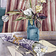 Roses Tulips And Striped Curtains Poster by Julia Rowntree