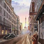 Rue Saint Dominique Sunset Through Eiffel Tower   Poster by Irina Sztukowski