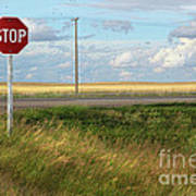 Rural Stop Sign On The Prairies  Poster by Sandra Cunningham