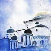 Russian Church In A Blue Cloud Poster by Sarah Loft