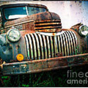Rusty Old Chevy Pickup Poster by Edward Fielding